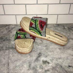 ZARA Beaded Watermelon Espadrille Sandals Size 40